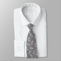 Japanese Dragonfly Pattern, Grey / Gray and White Neck Tie