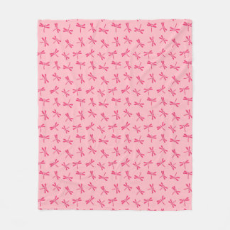 Japanese Dragonfly Pattern, Light Coral Pink Fleece Blanket