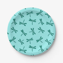 Japanese Dragonfly Pattern, Turquoise and Aqua Paper Plate