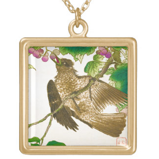 Japanese Drawing of Jay on a Grape Vine Gold Plated Necklace