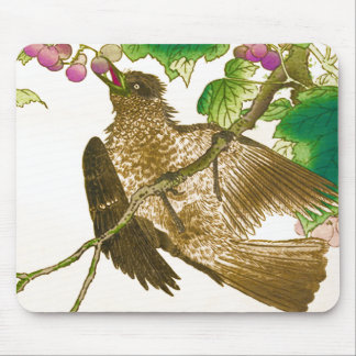 Japanese Drawing of Jay on a Grape Vine Mouse Pad