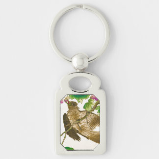 Japanese Drawing of Jay on a Grape Vine Silver-Colored Rectangular Metal Keychain