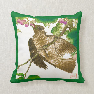 Japanese Drawing of Jay on a Grape Vine Throw Pillow
