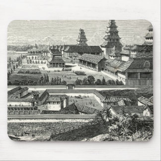 Japanese Edo Tokyo Castle Palace Complex Engraving Mouse Pad