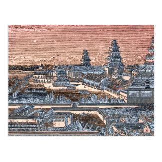 Japanese Edo Tokyo Castle Palace Complex Engraving Post Cards