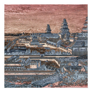 Japanese Edo Tokyo Castle Palace Complex Engraving Posters