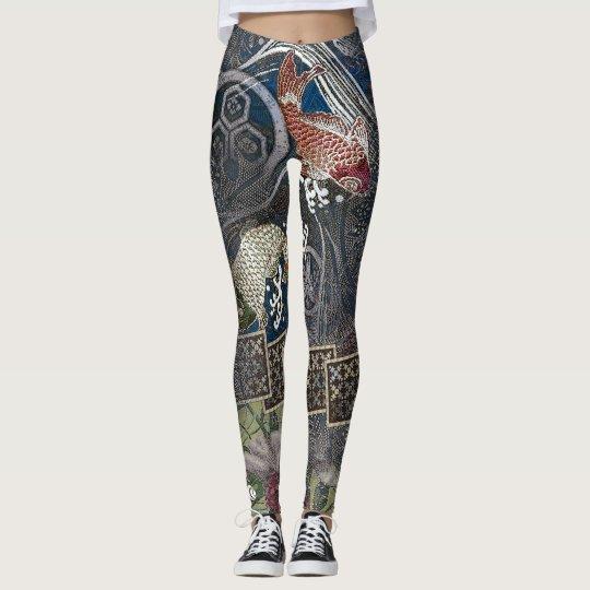 3f2dab2f659e6 Japanese Embroidered Silk Koi Leggings | Zazzle.com