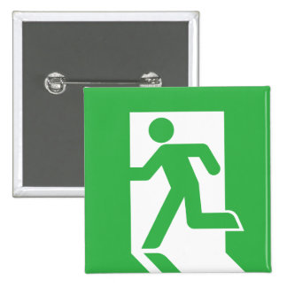 Japanese Emergency Exit Sign 2 Inch Square Button