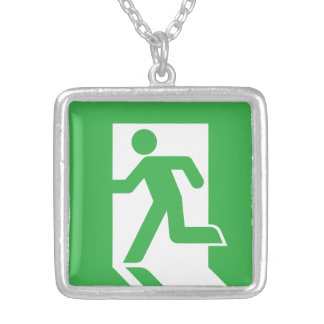 Japanese Emergency Exit Sign Square Pendant Necklace