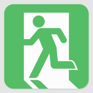 Japanese Emergency Exit Sign Square Sticker
