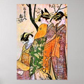 Japanese Engraving of Three Geisha Poster