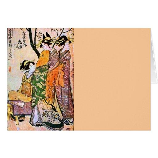 Japanese Engraving Three Geisha 1911 Greeting Card