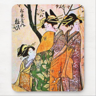 Japanese Engraving Three Geisha 1911 Mouse Pad