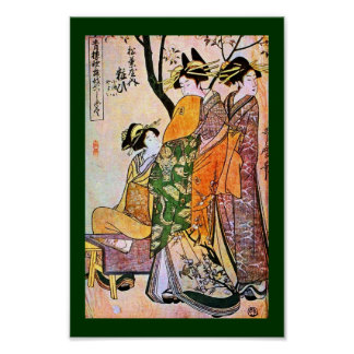 Japanese Engraving Three Geisha 1911 Poster