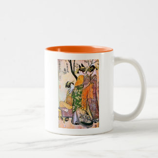 Japanese Engraving Three Geisha 1911 Two-Tone Coffee Mug