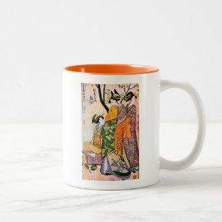 Japanese Engraving Three Geisha 1911 Two-Tone Coffee Mug