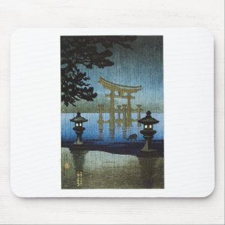 Japanese Evening Rain Woodblock Art Ukiyo-e Mouse Pad