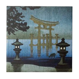 Japanese Evening Rain Woodblock Art Ukiyo-e Tile