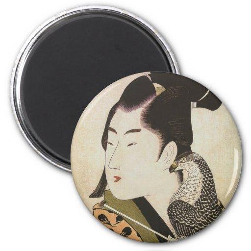 Japanese Falconer in a Kimono Vintage Art Fridge Magnet