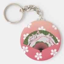 japan, japanese, ninja, samurai, sakura, nippon, asia, cherry-blossom, illustration, graphic, flower, vintage, fujiya, art, oriental, pink, pop, cute, pretty, cherry blossom, Keychain with custom graphic design