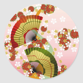 Japanese Fan 3 Classic Round Sticker