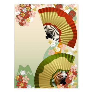 Japanese Fan 3 green Postcard