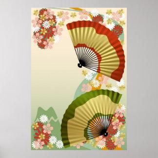 Japanese Fan 3 green Poster