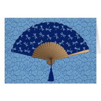 Japanese Fan, Dragonfly Pattern, Cobalt Blue Card