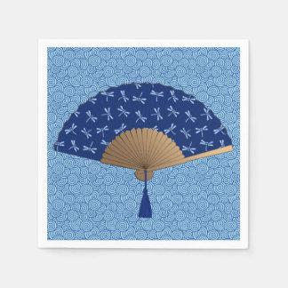 Japanese Fan, Dragonfly Pattern, Cobalt Blue Paper Napkin