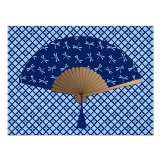 Japanese Fan, Dragonfly Pattern, Cobalt Blue Poster