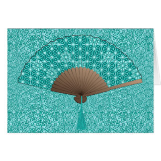 Japanese Fan in Asanoha pattern, Turquoise Card