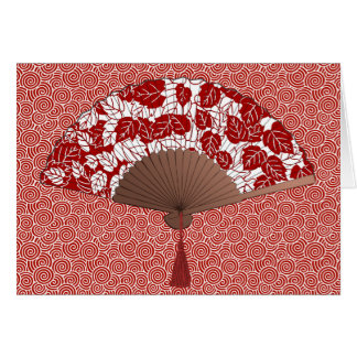Japanese Fan in Leaf Print, Dark Red and White Card