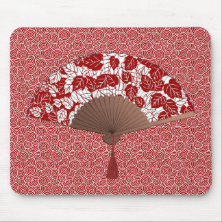 Japanese Fan in Leaf Print, Dark Red and White Mouse Pad
