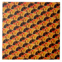 Japanese Fan Pattern Red Black and Gold Ceramic Tile