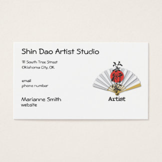 """Japanese Fan with Calligraphy for """"Artist"""" Business Card"""