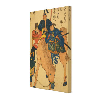 Japanese Farmers with Foreigner on a Horse Stretched Canvas Print