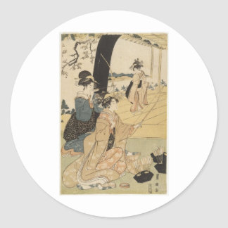 Japanese Females practicing archery c. 1798 Classic Round Sticker