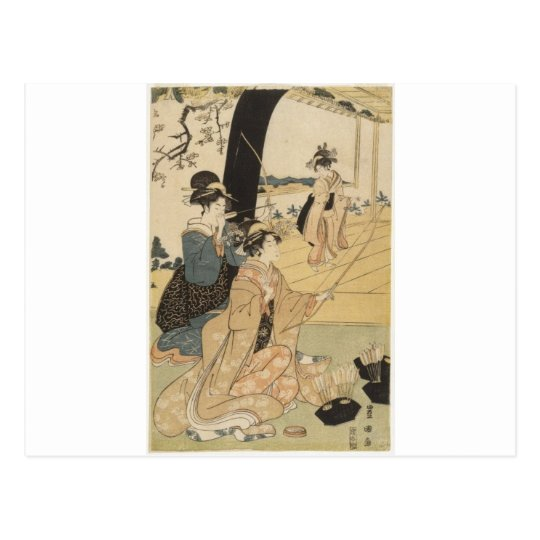 Japanese Females practicing archery c. 1798 Postcard