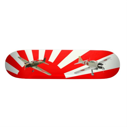Japanese fighter planes with Flag Skateboard