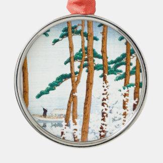 Japanese Fisherman through the Trees Metal Ornament