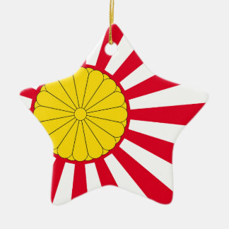 Japanese Flag And Inperial Seal Ceramic Ornament