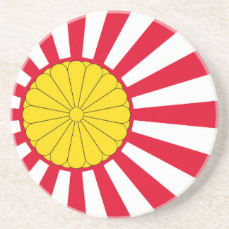 Japanese Flag And Inperial Seal Sandstone Coaster