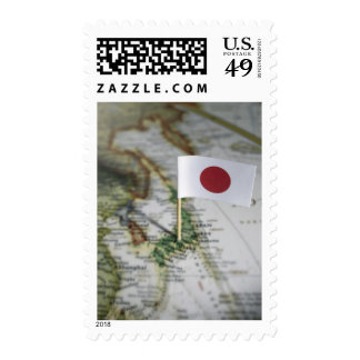 Japanese flag in map stamps