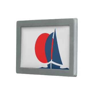 Japanese Flag Japan Sailing Boat Nautical Rectangular Belt Buckle