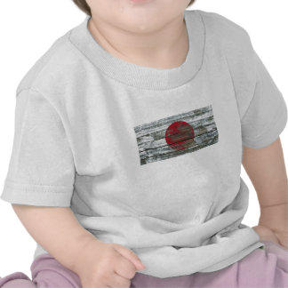 Japanese Flag on Rough Wood Boards Effect T Shirt
