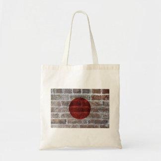 Japanese Flag Painting on Grunge Brick Wall Bag