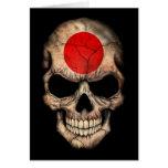 Japanese Flag Skull on Black Greeting Card