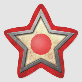 Japanese Flag Star with Rays of Light Star Sticker