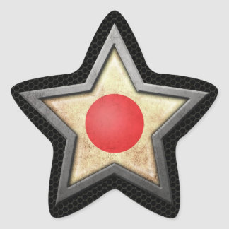 Japanese Flag Star with Steel Mesh Effect Star Sticker