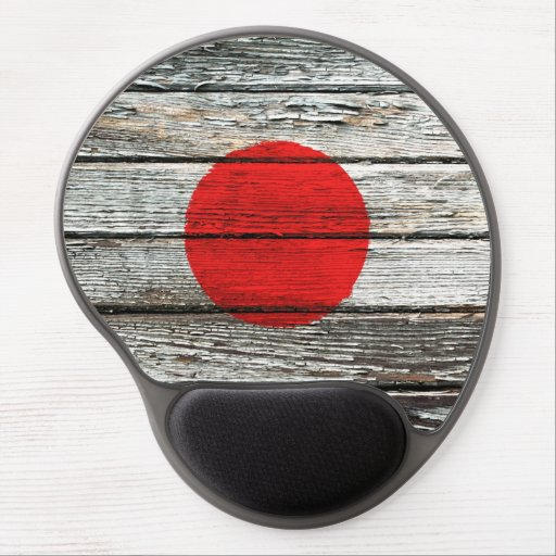 Japanese Flag with Rough Wood Grain Effect Gel Mouse Pads